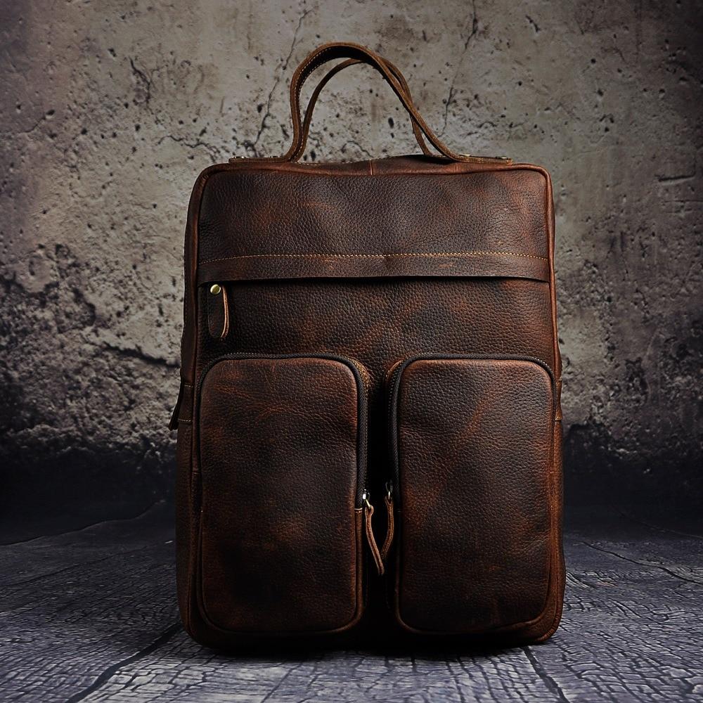 원래 가죽 헤비 듀티 대형 디자인 남자 여행 캐주얼 배낭 데이 팟 배낭 패션 대학 학교 책 노트북 가방 2107-에서백팩부터 수화물 & 가방 의  그룹 3