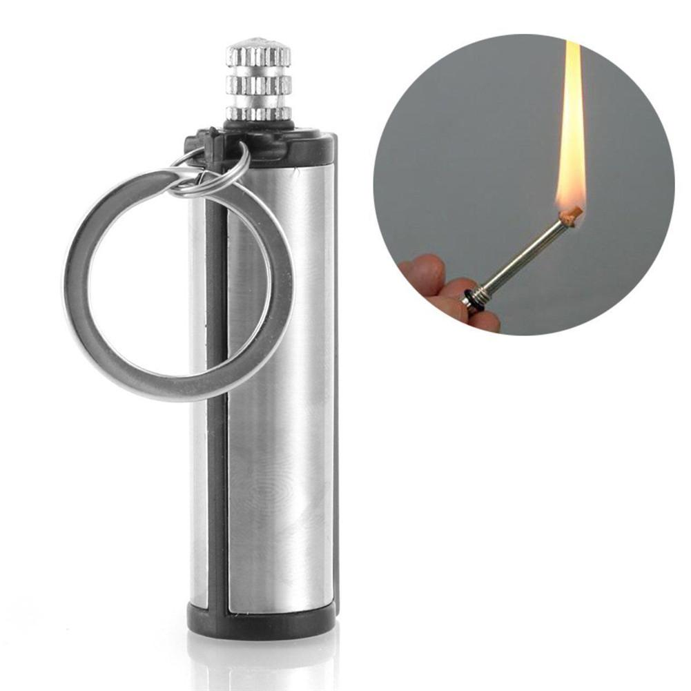 HobbyLane 1 Pc Stainless Steel Key Ring Fashion Permanent Lighter Match Silver Metal Key Chain Camping Emergency Survival Gear