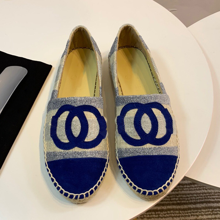 2019 new espadrille Women Flats Shoes spring CC Canvas shoes high quality Genuine Leather Slip-On size 34-41
