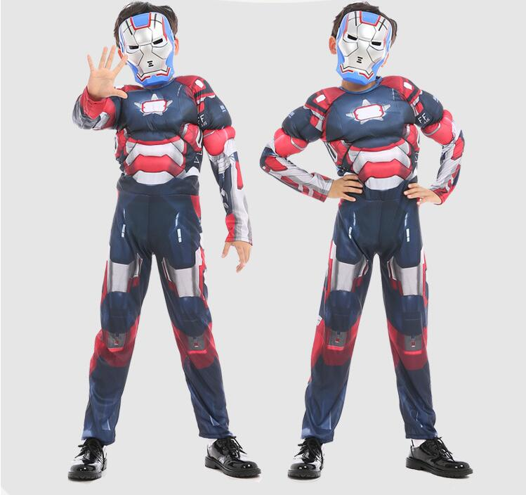 Iron Man Mark 42 Patriot Muscle Children Kids Halloween Costume Fantasia Avengers Superhero Iron Man Cosplay Costume with Mask