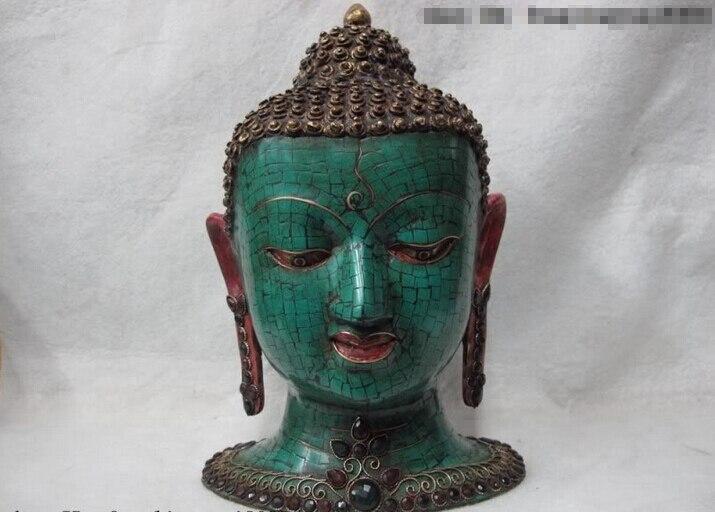 150401 S0561 Tibet Bronze Painted Inlay Turquoise Ruby Beryl Gem Sakyamuni Buddha Head Statue