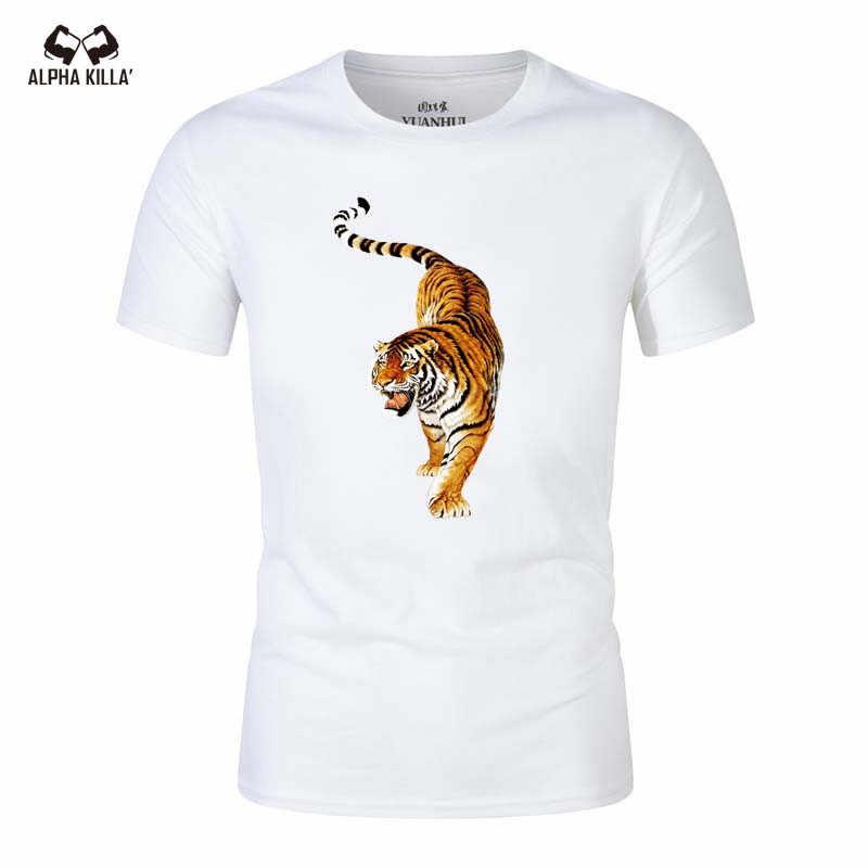 b2d43e50143e1 Футболка с 3D принтом тигра, футболка в стиле панк, мужская одежда в  готическом стиле