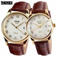 SKMEI Women Dress Watches Luxury Lovers Couple Watches Men Date Waterproof Women Leather Strap Quartz Wristwatch