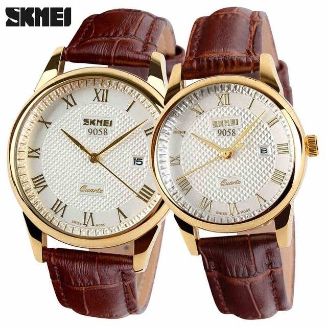 Skmei mujeres se visten de relojes de lujo de los amantes de los pares mujeres de cuarzo correa de cuero relojes hombres fecha impermeable reloj montre homme