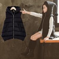 2018 Autumn Winter Baby Kids Thicker Warm Waistcoats Toddler Girls New Cotton Down Coats Teenage Girls Vest Outwear Jacket 10 12