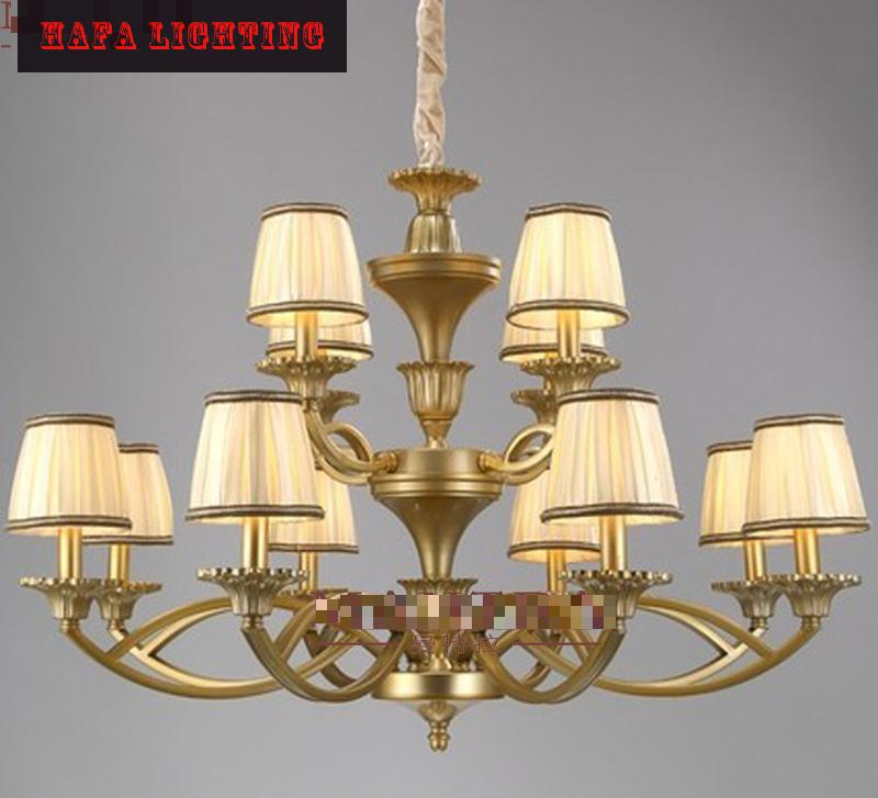 American Country vintage antique imitation copper brass  Iron Chandelier European Style Living Room Lighting fixture lampshade led lamp creative lights fabric lampshade painting chandelier iron vintage chandeliers american style indoor lighting fixture