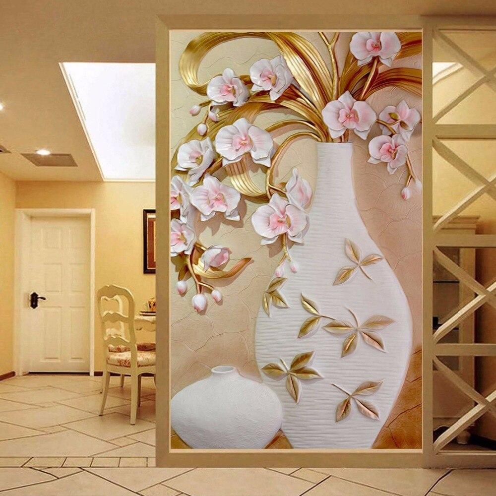 Grande Fleur Vase Mural Personnalise Taille 3d Relief Papier Peint