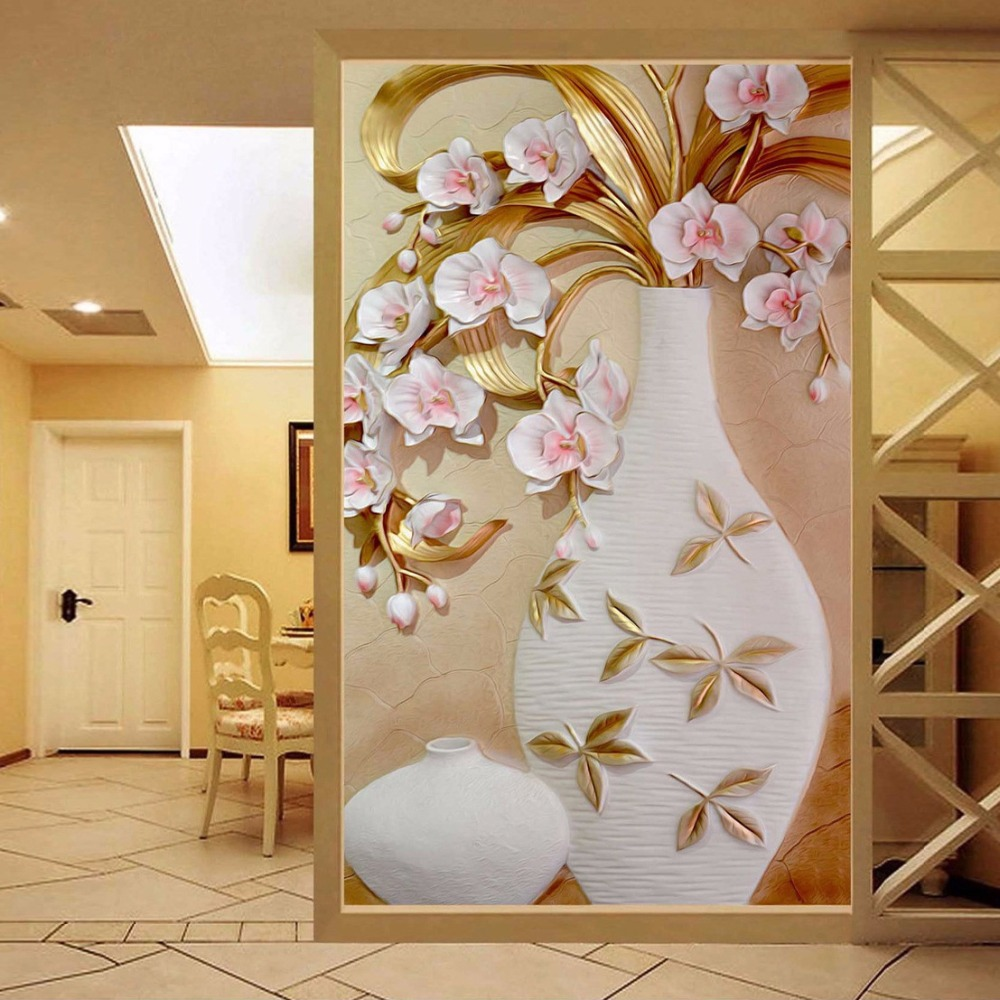 Large Flower Vase Mural Customized Size 3D Relief Wallpaper For Living Room Modern Simple Decor Entrance Corridor Wall Covering