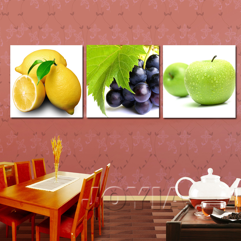3 Panel Kitchen Decor Fruit Canvas Painting Wall Art Hanging Modern  Pictures Dinning Room Decor Apple Lemon Posters No Frame