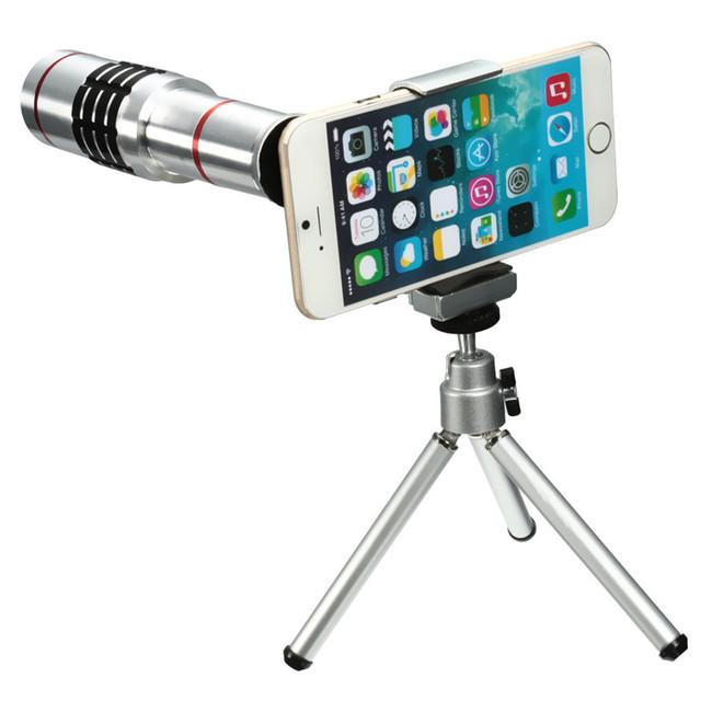 Universal 18x de zoom óptico de la cámara teleobjetivo lente del telescopio del teléfono móvil con mini trípode del montaje para el iphone para samsung teléfono inteligente