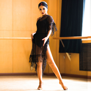 Image 3 - Yeni Latin Dans Elbise Siyah Örgü Saçaklı Elbise Cha Cha Salsa Samba Karnaval Kostümleri Bayanlar Uygulama Performans Giyim DNV10190