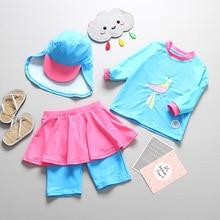 3pcs/set Girls Swimwear Bird Print Blue Baby Bathing Suit Su
