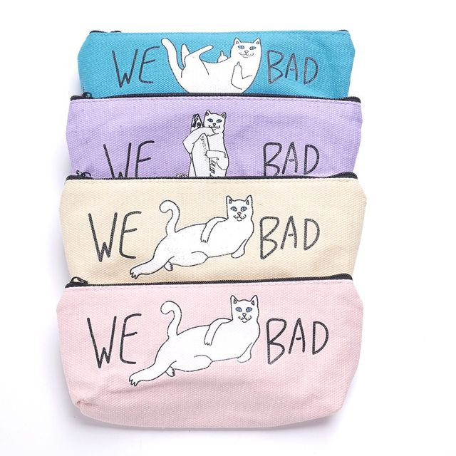 ISKYBOB Funny We Bad Cat Pencil Case School Girl Canvas Large Capacity Pencil Bag Stationery Storage Coin Purses Coin Purses & Holders