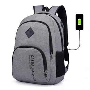 Image 1 - 15.6 인치 안티 절도 노트북 가방 USB 충전 남성 캔버스 배낭 여행 학교 가방 남자 배낭 틴 에이저 SchoolBag Mochila