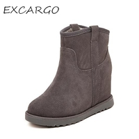 Fur Leather Boots Women Winter Warm Cotton Shoes Female Hidden Wedges Increased Ankle Boots Suede Chestnut