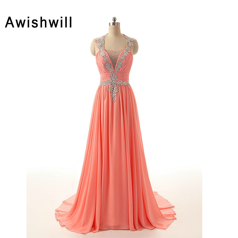 Customized Sexy Open Back Prom Dresses Sleeveless Shiny Beaded Chiffon Slim Evening Gowns Long Vestido de Formatura Longo