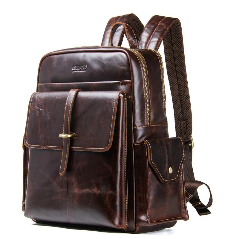IMIDO unisex genuine leather backpack cowhide leather traveling backpack school backpack leather backpack