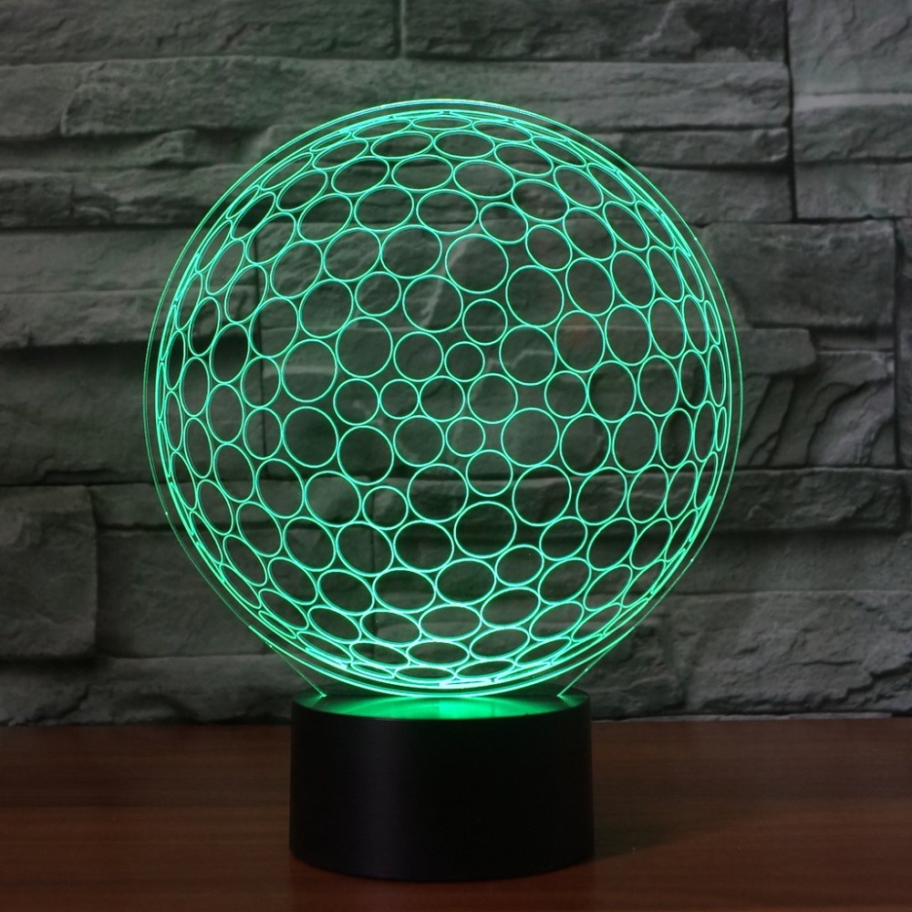 3D Led Sleep Usb Night Light Acrylic 7 Colorful Gradients Touch Switch Golf Ball Shape Table Lamp Lighting Golf Enthusiast Gifts