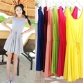 2017 fashion new Women Summer Dress O neck sleeveless pure color thin drawstring plus size all-match mini beach dresses 4388