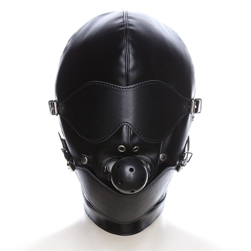 Black Sex Mask Fetish Bdsm Leather Mouth Eye Slave Hood Ball Gag Sex Product Toy -2988