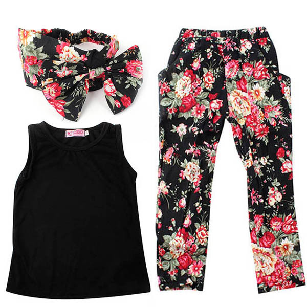 2-7 Y Girls Baby Clothing Sets 3 Pcs Sleeveless Shirt/Tops + Floral Pants + Headband Vogue Clothes
