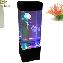 Good Quality Mini Colorful Moving Jellyfish Aquarium Home Office Night Light LED Lamp Tank