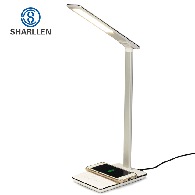 Sharllen Oogbescherming Led Bureaulamp En Qi Draadloze