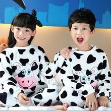 Hot Sale 2016 Kids Pajamas Autumn Winter Cartoon Boys Pyjamas Pijama Infantil Kids Girls Thicken Flannel Pijama Pyjama Enfant