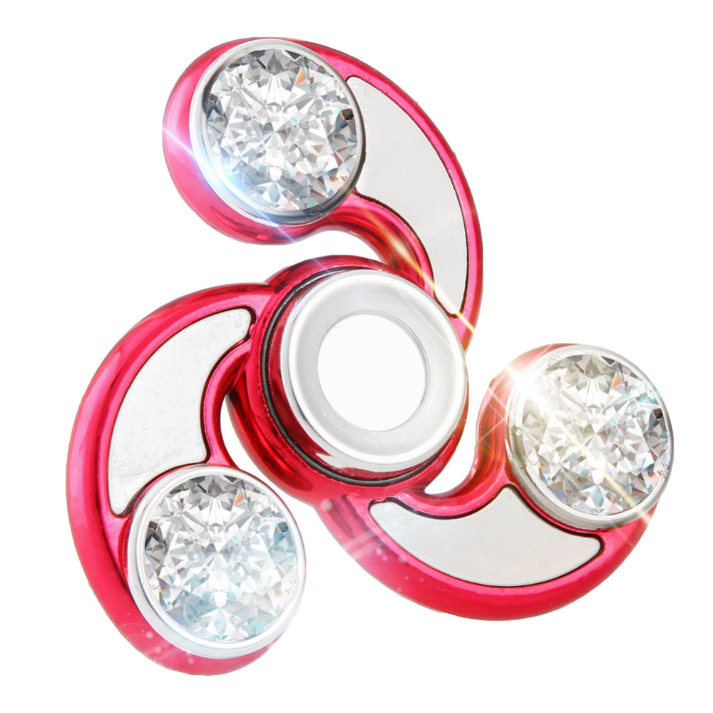 4 Colors Tri-Spinner Rhinestones Fidget Spinnner Toy Plastic EDC Hands Spinner For Autism and ADHD Stress Relief Toys Kids Gift