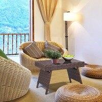 Giantex Folding PE Rattan Side Coffee Table Patio Garden Outdoor Furniture Brown NEW Home Furniture HW58873