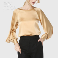 Palace style gold vintage ladies natural silk tops and blouses lantern sleeve satin silk shirt tops camisa blusa feminina LT1978