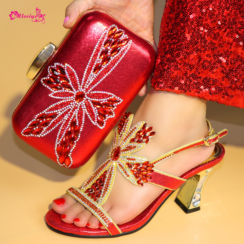 New Arrival Nigerian Women Shoe and Bag Set Decorated with Rhinestone Shoe and Matching Bag for Nigeria Party Womens Shoes Heels new arrival nigerian women shoe and bag set decorated with rhinestone shoe and matching bag for nigeria party womens shoes heels