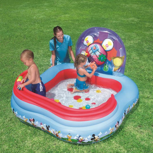 157 91cm Square Baby Kid Swimming Pool Large Inflatable Air Filled Ball Slide