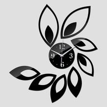 2016 new watch home decoration wall clock diy mirror clocks 3d balcony/courtyard quartz circular needle acrylic free shipping