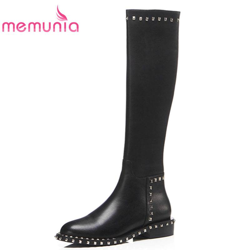 MEMUNIA 2018 NEW fashion square low heel genuine leather boots slip on round toe knee high boots for women rivet winter boots riding winter boots feathers 2015 new fashion korean metal decoration genuine leather elevator pull on pure color round toe