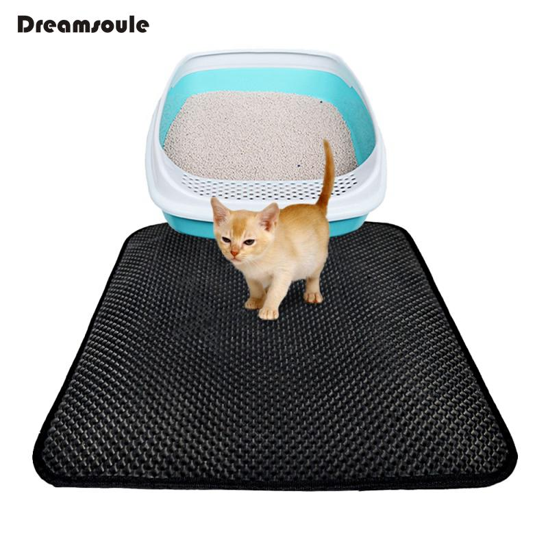 DREAMSOULE Cat Litter Mat EVA Double-Layer Cat Litter Trapper Mats with Waterproof Bottom Layer kattenmand - Black