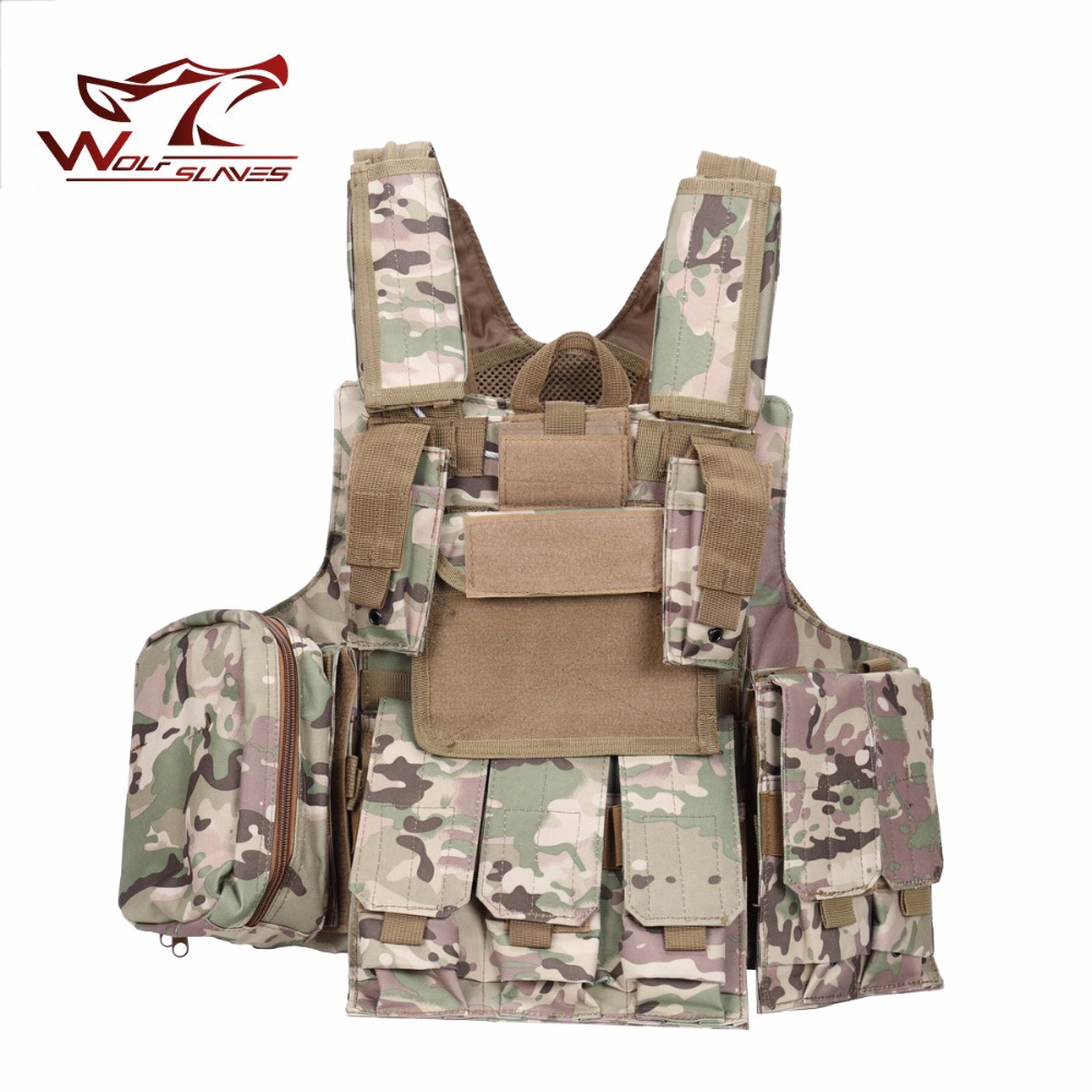 Outdoor Cycling Chest Rig Mag Vest Tactical Molle Carrier Armor Body Bulletproof Vest  Steel Wire Commando Plates with Pouches