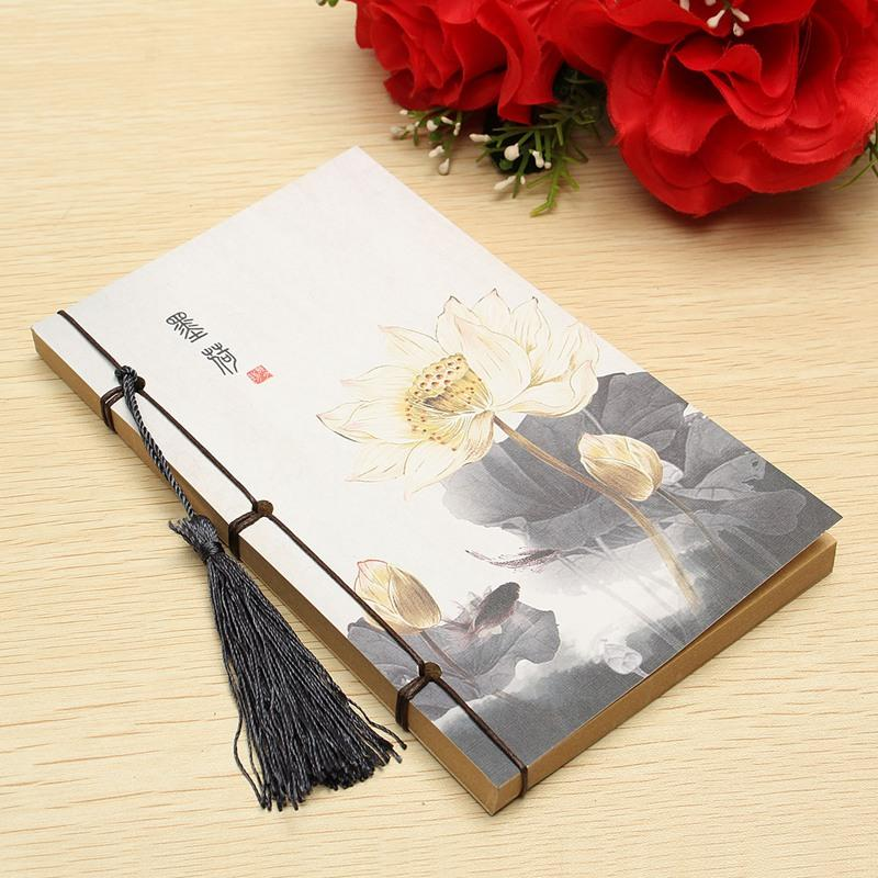 Creative New Chinese Style Lotus Planner Notepad, 17*11cm Vintage Notebook With Tassel Blank Kraft Pages