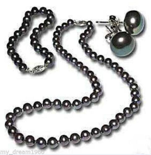 Hot sale new Style >>>>Genuine 7-8MM Black Freshwater Cultured Pearl Necklace Bracelet Earring Set 8mm crystal translucent pearl bracelet