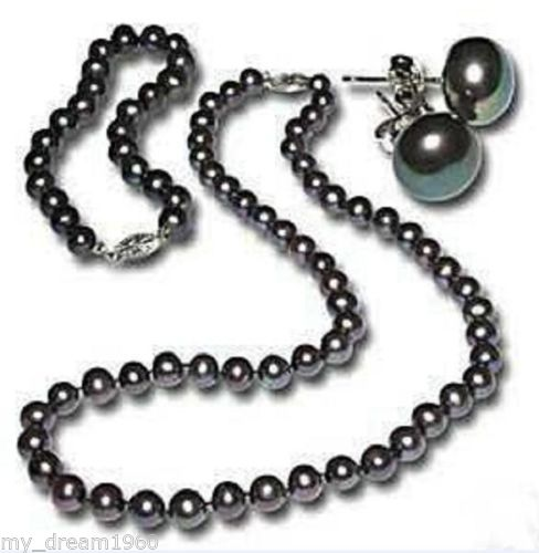 Hot sale new Style >>>>Genuine 7-8MM Black Freshwater Cultured Pearl Necklace Bracelet Earring Set