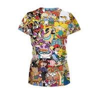 2016 New Fashion Women/Men Cartoon Totally 90s Print 3d T Shirt Pokemon Cartoon Sporting T Shirts Girls Top Tee Plus Size S-XXL 3