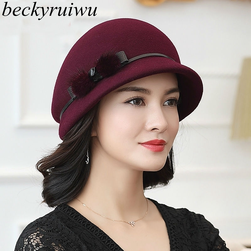 Beckyruiwu Mother Gift Lady Autumn And Winter Fashion Woolen Cloche Hats Woman Party Formal Top Grade 100% Wool Felt Hat Cap|wool felt hat|felt hatcloche hat - title=