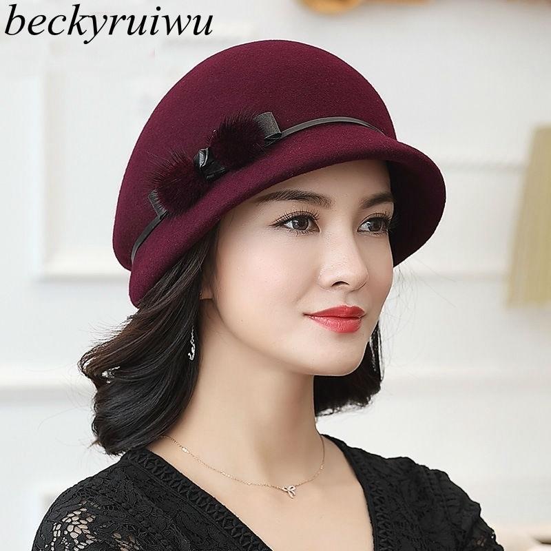 Beckyruiwu Mother Gift Lady Autumn And Winter Fashion Woolen Cloche Hats Woman Party Formal Top Grade 100% Wool Felt Hat Cap