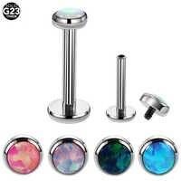 HS 1 STÜCK G23 Titan Opal Labret Ringe Silber Lip Bars Sexy Charming Ohrknorpel Tragus Piercing Für Unisex Schmuck 16g