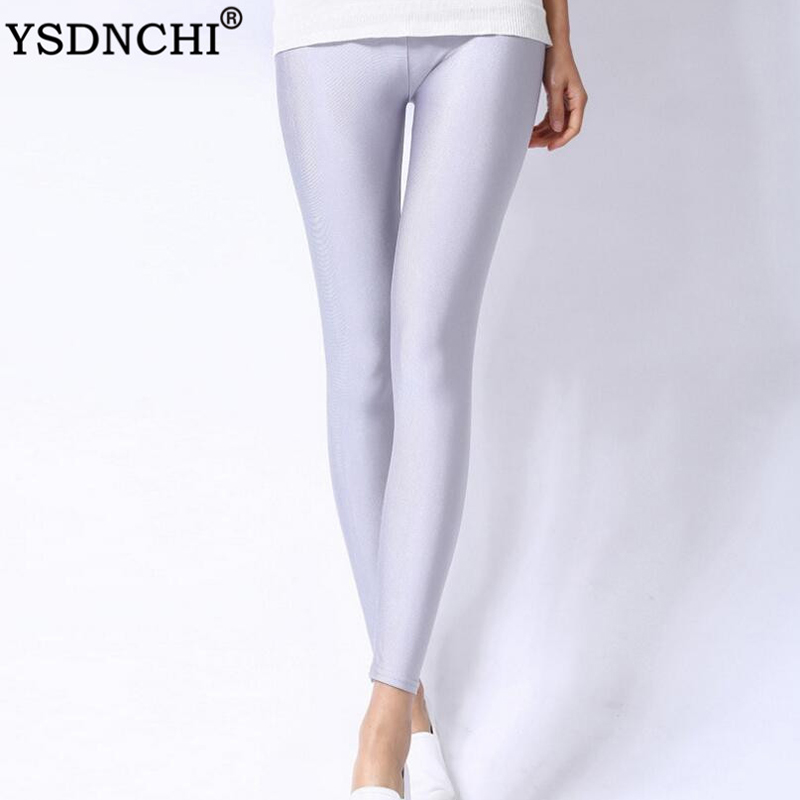 YSDNCHI Spandex Leggings Plus Size Black White Rose Navy Blue Women Legging Shiny Neon Elastic Waist Skinny Pants Girl Clothing