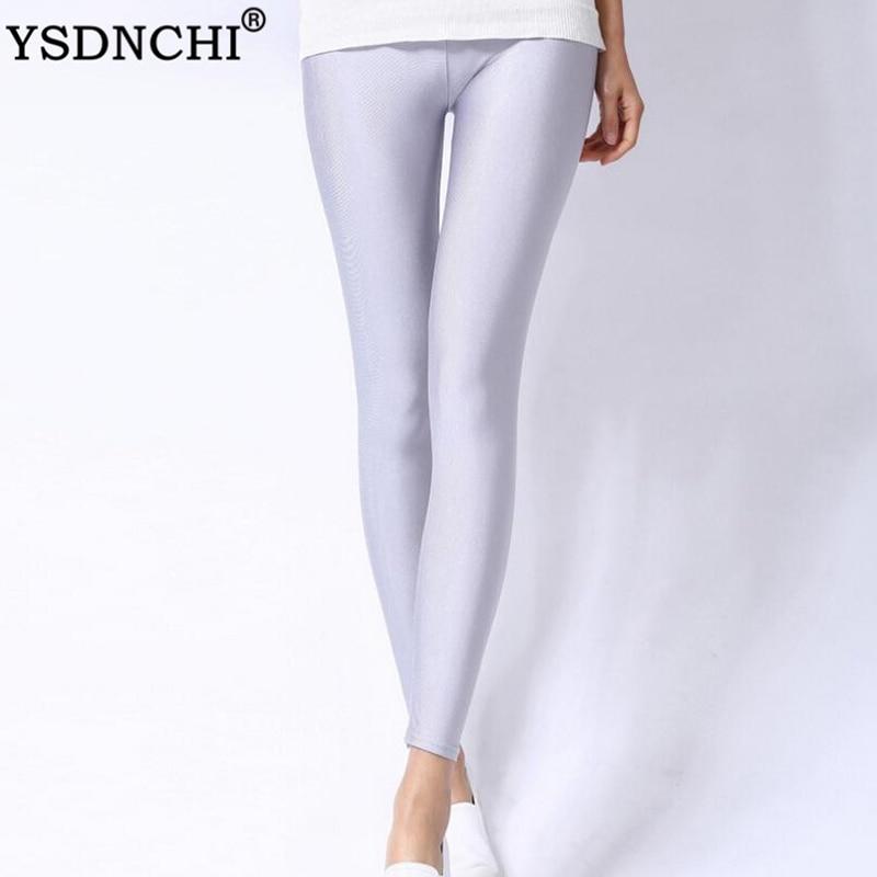 YSDNCHI Spandex Leggings Plus Size Black White Rose Navy Blue Women Legging Shiny Neon Elastic Waist Skinny Pants Girl Clothing