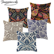 Fuwatacchi Linen Cushion Cover Mandala Throw Pillow for Home Chair Sofa Decorative Pillows 45*45 Classical Flower