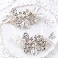 Jonnafe Strass Blume Bridal Haar Kamm Clip Silber Tiara Handgemachte Blatt Kristall Hochzeit Partyoberteil