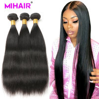 Straight Hair 100% Human Hair Bundles Natural Color 1/3/4 Bundles Indian Hair Extensions MIHAIR Straight Remy Hair Weaves