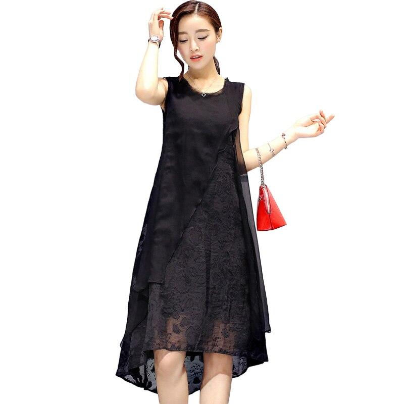 Detail Feedback Questions about Plus size 5XL chiffon silk dress woman  sleeveless vest tank a line dresses for women loose elegant irregular dress  2018 ... 404c6556c
